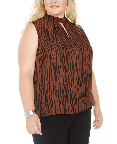 Bar III Trendy Plus Size Zebra-Print Keyhole Mock-Neck Top, Created For Macy's