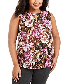 Plus Size Floral-Print Keyhole-Neck Top