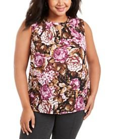Nine West Plus Size Floral-Print Keyhole-Neck Top