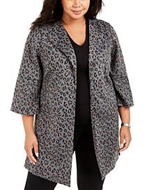Plus Size Peaked-Lapel Animal-Print Jacket