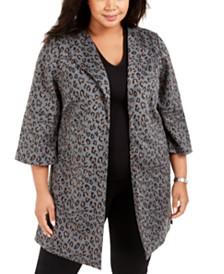 Nine West Plus Size Peaked-Lapel Animal-Print Jacket