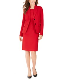 Kasper Crewneck Sheath Dress & Notch-Collar Jacket