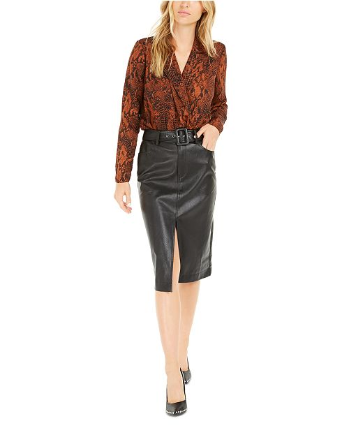 Bar III Becca Tilley x Snakeskin Bodysuit and Faux-Leather Slit Skirt, Created For Macy's
