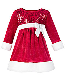 Bonnie Baby Baby Girls Faux Fur Santa Dress