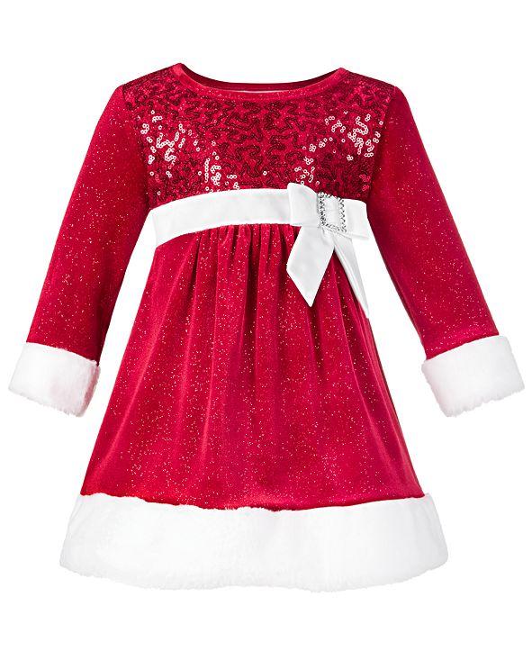 Bonnie Baby Baby Girls Faux Fur Santa Dress