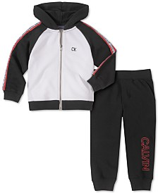 Calvin Klein Jeans Little Boys 2-Pc. Colorblocked Full-Zip Hoodie & Fleece Logo-Print Sweatpants Set