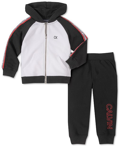 Calvin Klein Little Boys 2-Pc. Colorblocked Full-Zip Hoodie & Fleece Logo-Print Sweatpants Set