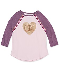 Calvin Klein Big Girls Logo-Print Raglan-Sleeve T-Shirt