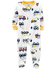 Baby Boys 1-Pc. Construction-Print Fleece Footed Pajamas