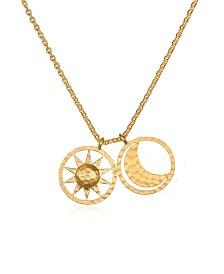 "Satya Jewelry Sun & Moon Gold 18"" Necklace"