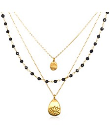 """Onyx Gold Lotus Tree Triple Chain 18"""" Necklace"""