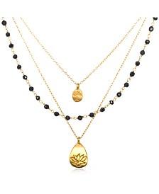 "Satya Jewelry Onyx Gold Lotus Tree Triple Chain 18"" Necklace"