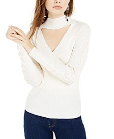 Juniors' Mock-Neck Cutout Sweater