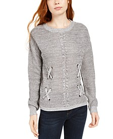 Juniors' Crisscross Mixed-Knit Sweater