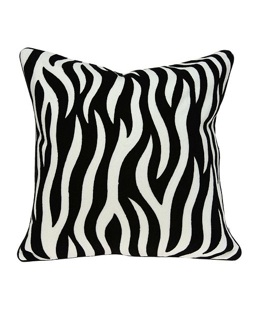 Parkland Collection Simba Transitional Black and White Zebra Pillow Cover with Polyester Insert