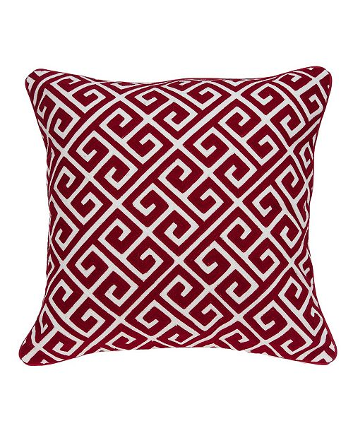 Parkland Collection Trix Transitional Red and White Pillow Cover with Polyester Insert