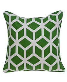 Panna Transitional Green and White Pillow Cover with Polyester Insert