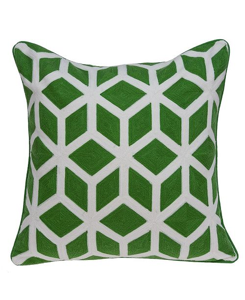 Parkland Collection Panna Transitional Green and White Pillow Cover with Polyester Insert
