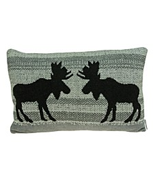 Buck Lodge Grey Pillow Cover With Down Insert