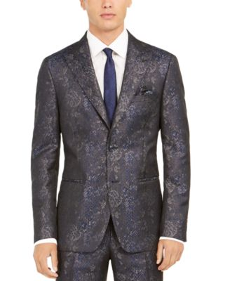 Orange Men's Slim-Fit Snakeskin-Print Suit Jacket