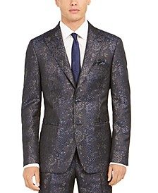 Orange Men's Slim-Fit Snakeskin-Print Suit Jacket