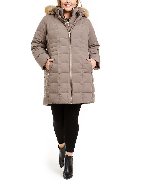 Michael Kors Plus Size Faux-Fur-Trim Hooded Down Puffer Coat, Created for Macy's