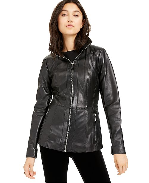 Michael Kors Leather Zip-Front Jacket, Created for Macy's