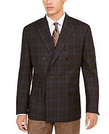 Men's Classic-Fit Windowpane Double-Breasted UltraFlex Sport Coat