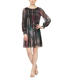SL Fashions Abstract-Print Chiffon Shift Dress