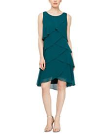 SL Fashions Tiered Chiffon Dress