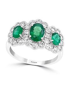 EFFY® Emerald (1-3/8 ct. t.w.) & Diamond (3/4 ct. t.w.) Ring in 14k White Gold