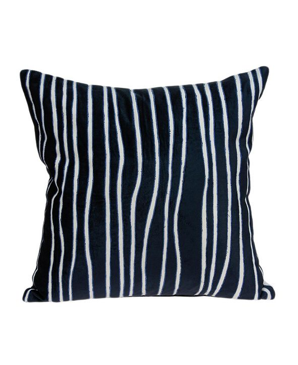 Parkland Collection Aya Transitional Blue Pillow Cover with Polyester Insert