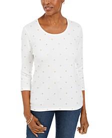 Petite Glitter Star Print Shirt, Created For Macy's