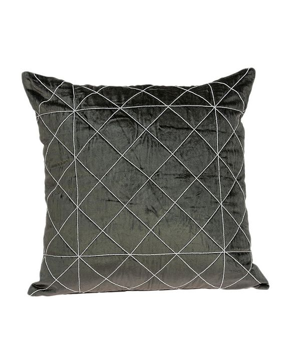 Parkland Collection Tada Transitional Grey Pillow Cover With Down Insert
