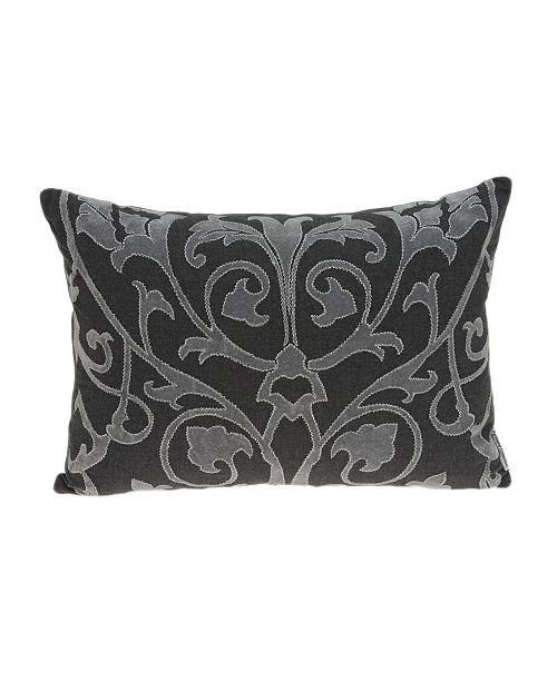 Parkland Collection Sophia Traditional Grey Pillow Cover with Polyester Insert