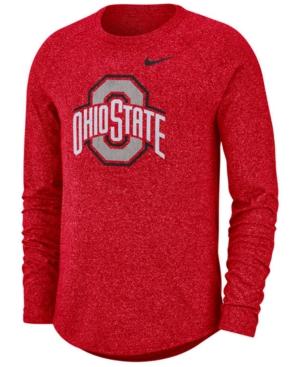 Nike Men's Ohio State Buckeyes Marled Long Sleeve Raglan T-Shirt
