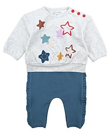 Baby Girl 2-Piece Bell Sleeve Tee and Pant Outfit Set