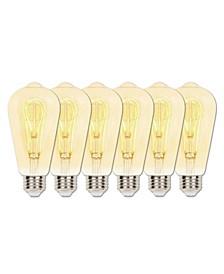 Lighting 5-Watt (25-Watt Equivalent) Amber ST20 Dimmable Flexible Filament LED Light Bulb with Medium Base, Pack of 6