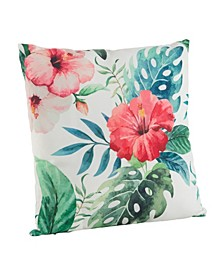"""Tropical Floral Print Polyester Filled Throw Pillow, 18"""" x 18"""""""