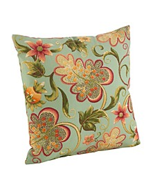 """Flowering Vine Pattern Indoor/Outdoor Polyester Filled Throw Pillow, 17"""" x 17"""""""