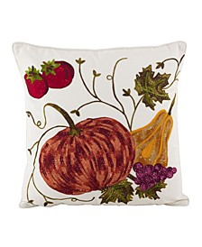 "Embroidered Pumpkin Harvest Cotton Throw Pillow, 18"" x 18"""