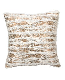 "Faux Fur with Brushed Metallic Foil Print Throw Pillow, 15"" x 15"""