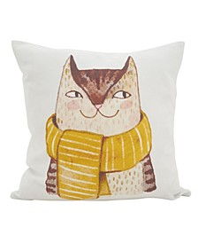 """Cool Cat Statement Polyester Filled Throw Pillow, 16"""" x 16"""""""