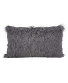 """Glam Goat Fur Polyester Filled Throw Pillow, 12"""" x 20"""""""