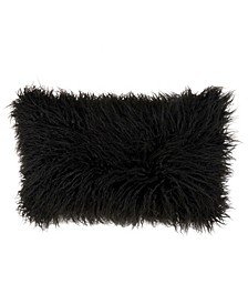 "Mongolian Faux Fur Throw Pillow, 12"" x 20"""