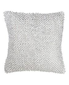 """Cotton Throw Pillow with Foil Printed Pom Pom Design, 18"""" x 18"""""""