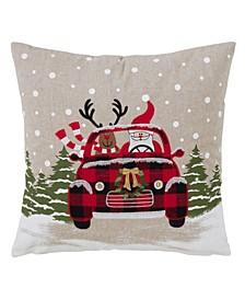 "Polyester Throw Pillow with Santa and Reindeer Car Design, 18"" x 18"""
