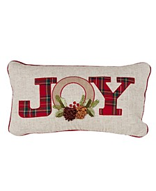 "Holiday Decorative Throw Pillow with Red Plaid Design, 12"" x 18"""