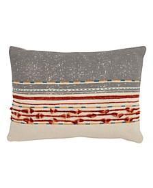 """Throw Pillow with Cord Applique Design, 12"""" x 18"""""""