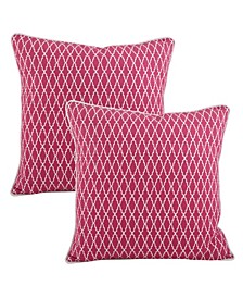 """Ikat Design Cotton Pillow - Cover Only, Set of 2, 18"""" x 18"""""""
